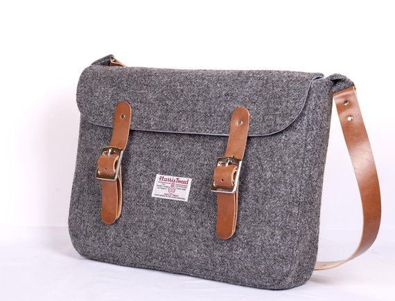 Harris Tweed Charcoal Satchel. £125.00, via Etsy.