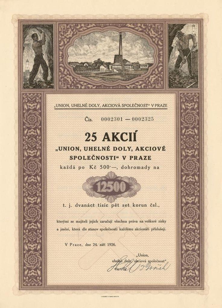 UNION, uhelné doly akc. spol. v Praze (Union, Bergbau AG). Akcie na 25x 500 Kč (12 500 Kč). Praha, 1926.