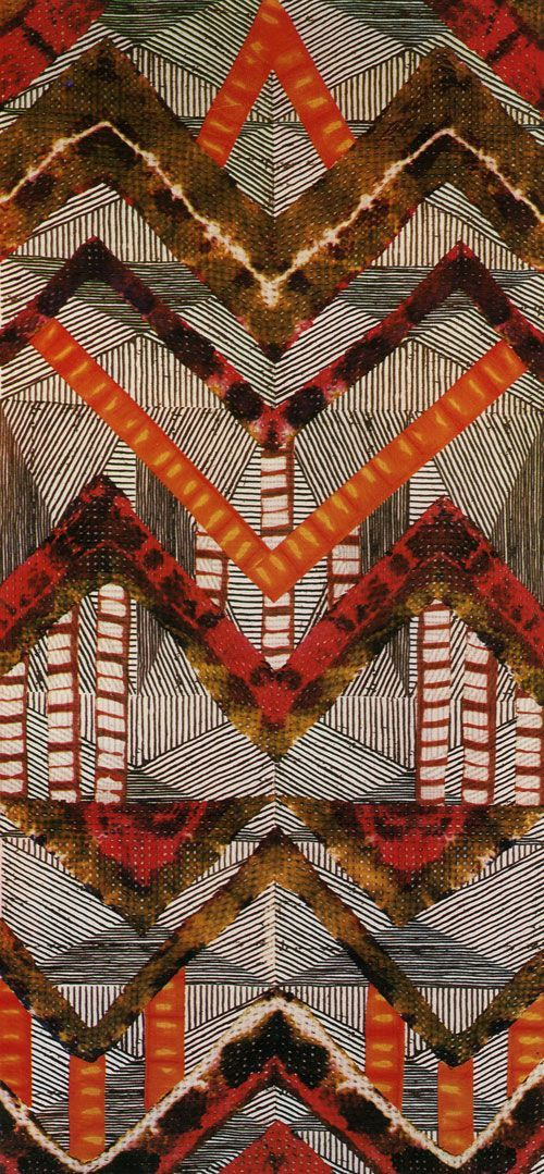 lisa matthias combined several techniques to create this amazing fabric: stencil, batik, applique and plangi. (from the dyer's art: ikat, batik and plangi by jack lenor larsen, 1976)