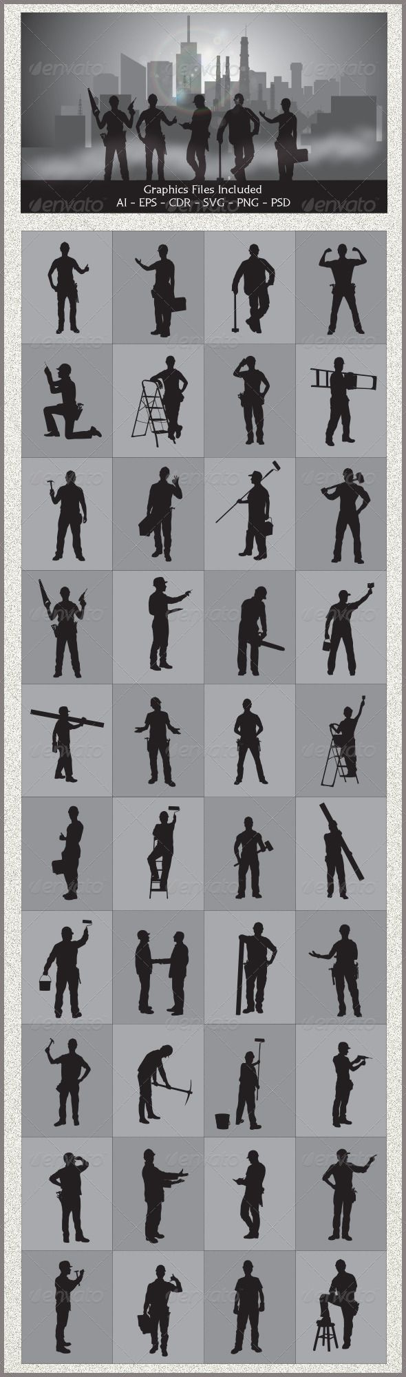 Handyman Silhouettes  #GraphicRiver         Nice Handyman Silhouettes vector design. In this files include AI and EPS versions.