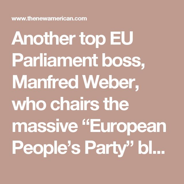 "Another top EU Parliament boss, Manfred Weber, who chairs the massive ""European People's Party"" bloc in the phony legislature, also threatened British voters. ""I am a member of the European Parliament, the leader of the biggest group, and that's why we have from now on, the interests of 450 million citizens in mind — that is EU citizens,"" he said, referring to those peoples still trapped, many of them against their will, in the unaccountable superstate. ""I can give you a clear example for…"