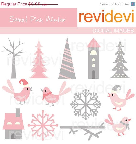 70 OFF SALE Sweet Pink Winter 07234  Cliparts by revidevi on Etsy