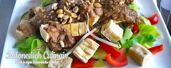 Asinan Sayur Jakarta - Groente en tahu overgoten met een hete zoet/zure saus - Vegetables and tofu with a hot sweet 'n sour sauce