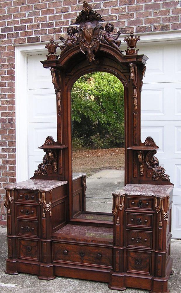 Walnut dresser...Allen & Brother, Philadelphia, Pa, Circa 1870's