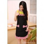 Lovely Lady's Kitchen Fashion Flirty Apron for Women's Girls with Pockets Black and Red Aprons (Black and Red)