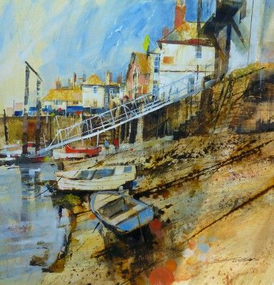 Wet Sand, Boats and Pontoon, Fowey by British Contemporary Artist Chris FORSEY
