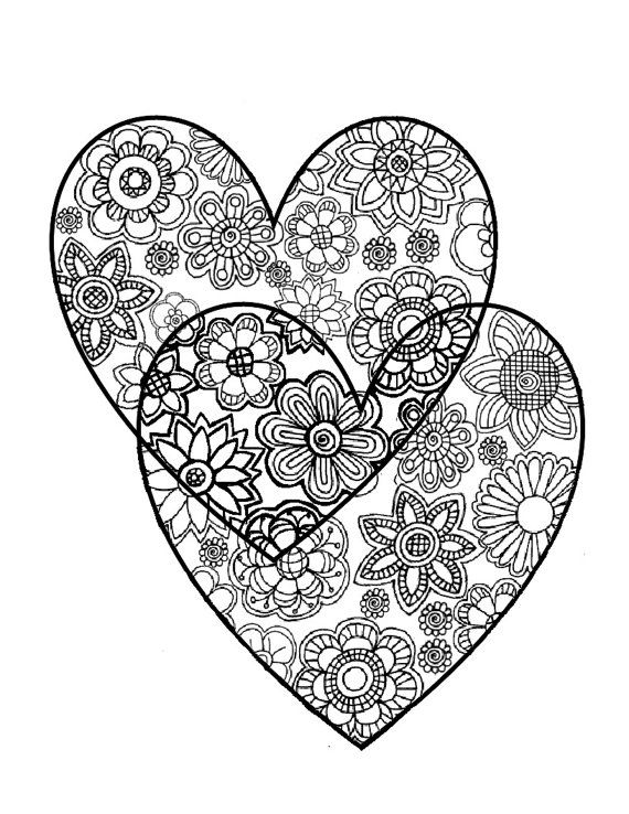 Adult Coloring Page:Original Hand Drawn Art in Black and White, Flowers in Two Hearts