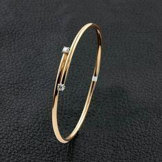 Thin Bangle Bracelet with Diamond Accents
