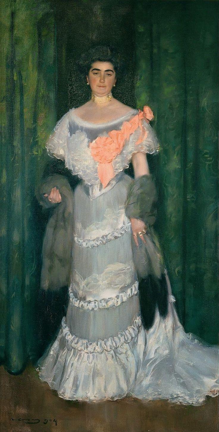 Ramón Casas i Carbó (Spanish, 1866-1932) - Montserrat Casas de Nieto, in Evening Dress, 1904