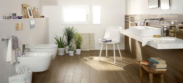 #Marazzi Treverk04 | fine porcelain stoneware with wood aspect for bathroom