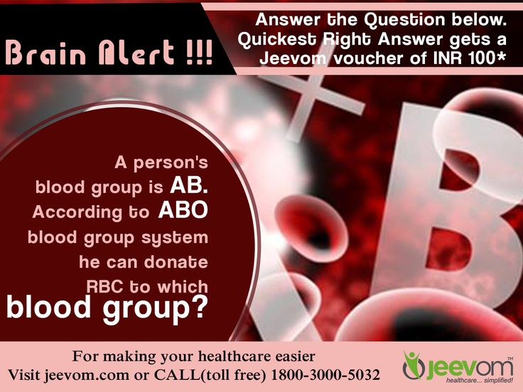 #‎JeevomBrainAlert‬: Answer the Question below. Quickest right answer gets a Jeevom voucher of INR 100*  Question: A person's blood group is AB. According to ABO blood group system he can donate RBC to which blood group?  ‪#‎HealthQuiz‬