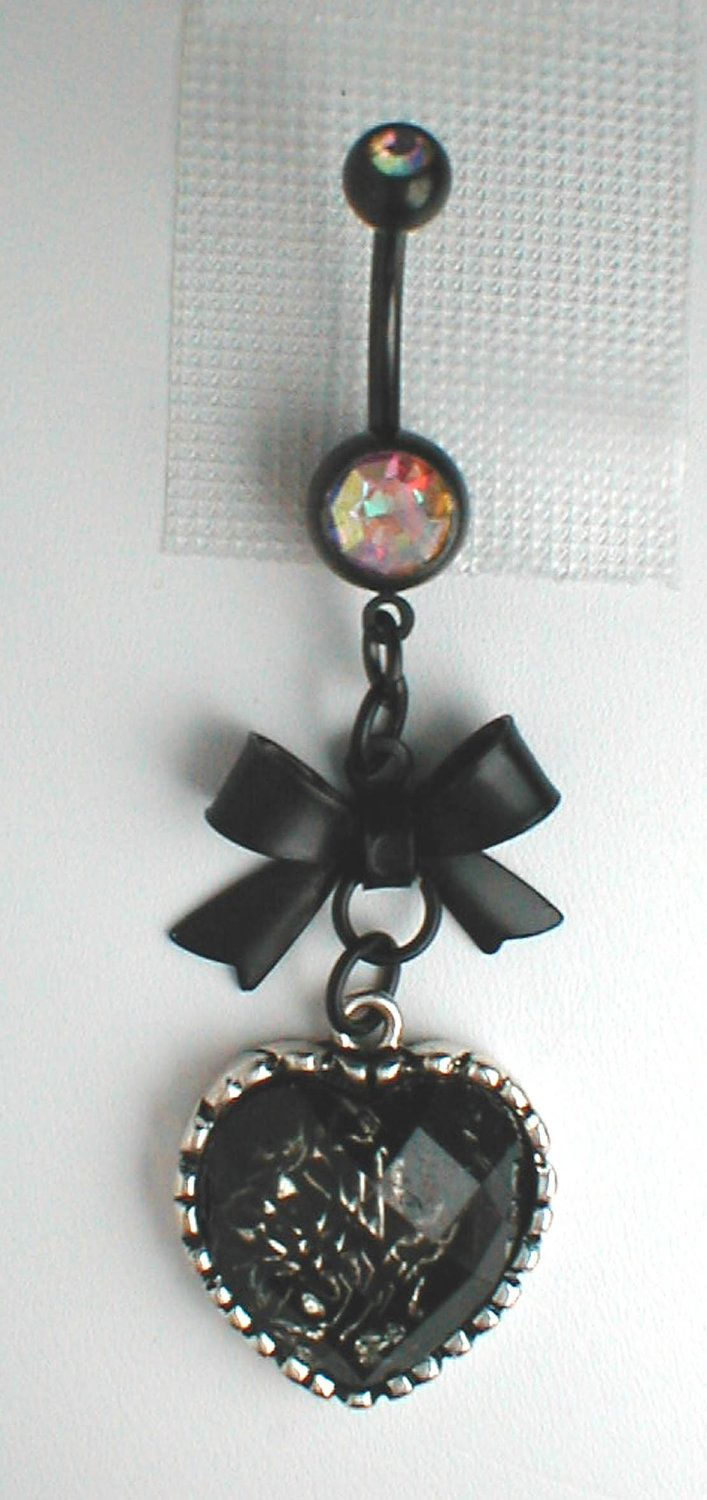 Unique Belly Ring - Black Bow and Heart. $10.95, via Etsy.