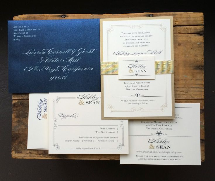 Navy And Gold Wedding Invitations Navy Wedding By BeaconLane