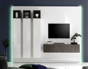 ensemble meuble tv lumineux pas cher contemporain - Meuble Tv Blanc Glossy