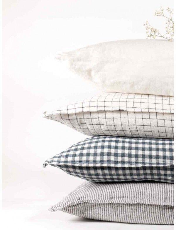 Linge Particulier - Housses de coussin en lin lavé rayé Noir & Blanc, carreaux  blanc et noir, vichy anthracite, blanc naturel