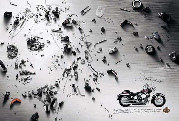 Cannes Lion winning print campaign for Harley Davidson Parts and Accessories.We dismantled each bike down to the core and arranged the pieces organically to create portraits of the individuals who own the bikes.