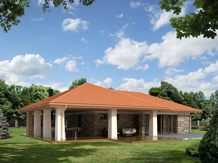 Wewnątrz zaprojektowano duże wielofunkcyjne pomieszczenie. Charakterystycznym elementem jest duży zadaszony taras wraz z zewnętrznym grillem.