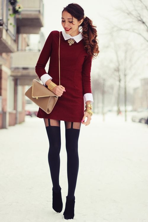 Preppy burgundy and tights on pinterest