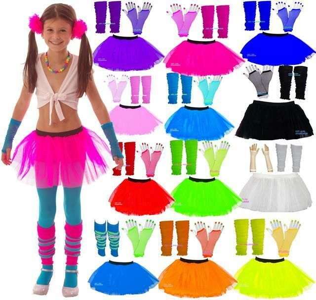 NEON TUTU  SKIRT SET LEG WARMERS GLOVES AGE 4-12 GIRLS PARTY  80/'S FANCY DRESS