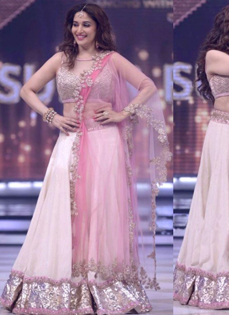 Madhuri Dixit in Pink Lehenga Choli on The Finale Episode of Jhalak Dikhhla Jaa Season 7  www.fashiongroop.com