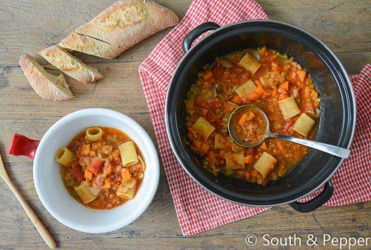 Recept Linzen-pasta minestrone #kokenmetkliekjes #nofoodwaste #makkelijkensimpel #recept #recepten #soep #italiaans #gezond #winter #pasta #linzen