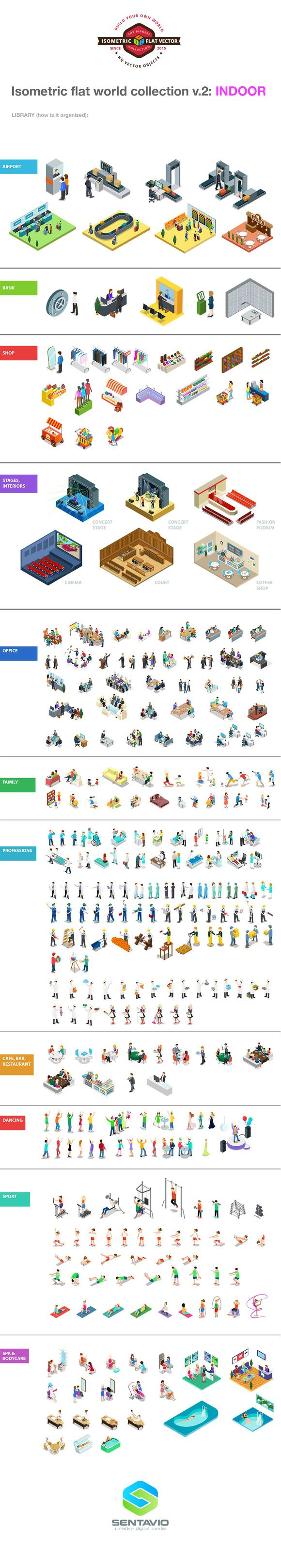 #Vector #isometric #flat style INDOOR collection: #interiors, #people #professions, #workplaces, #furniture, #airport, #bank, #shop, #stages, #office, #family, #cafe, #bar, #restaurant, #dancing, #sport, #spa #bodycare  Download: https://creativemarket.com/Sentavio/512322-Isometric-flat-world-collection-v.2