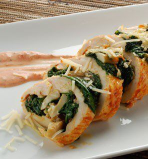 Mushroom Stuffed Chicken Breast (Great for all phases - Ideal Protein) chicken breast (butterflied) ½ tablespoon paprika 1 teaspoon white pepper ½ tablespoon olive oil ½ cup spinach (wilted) ½ cup mushrooms (sautéed) 2oz Walden Farms Tomato Basil Sauce 1 pinch salt to taste