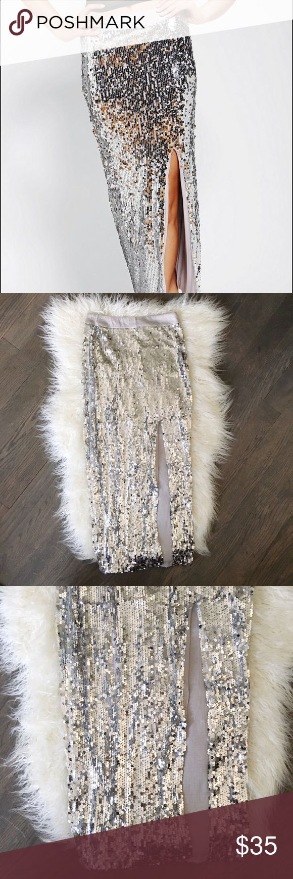 """urban outfitters • nwt sequin maxi skirt silver Never worn, new with tags silver sequined maxi skirt with side slit. Bought for a NYE party but never wore. Brand is """"Blaque Label"""", purchased at Urban Outfitters. Urban Outfitters Skirts Maxi"""
