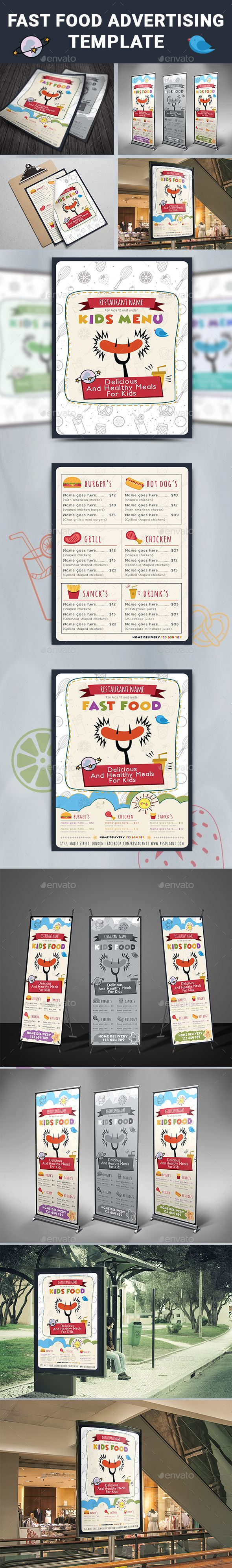 Fast Food Advertising Template Vector EPS, InDesign INDD, AI Illustrator