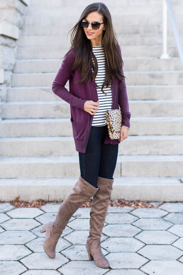 Best 25  Purple cardigan outfits ideas on Pinterest | Brown pants ...
