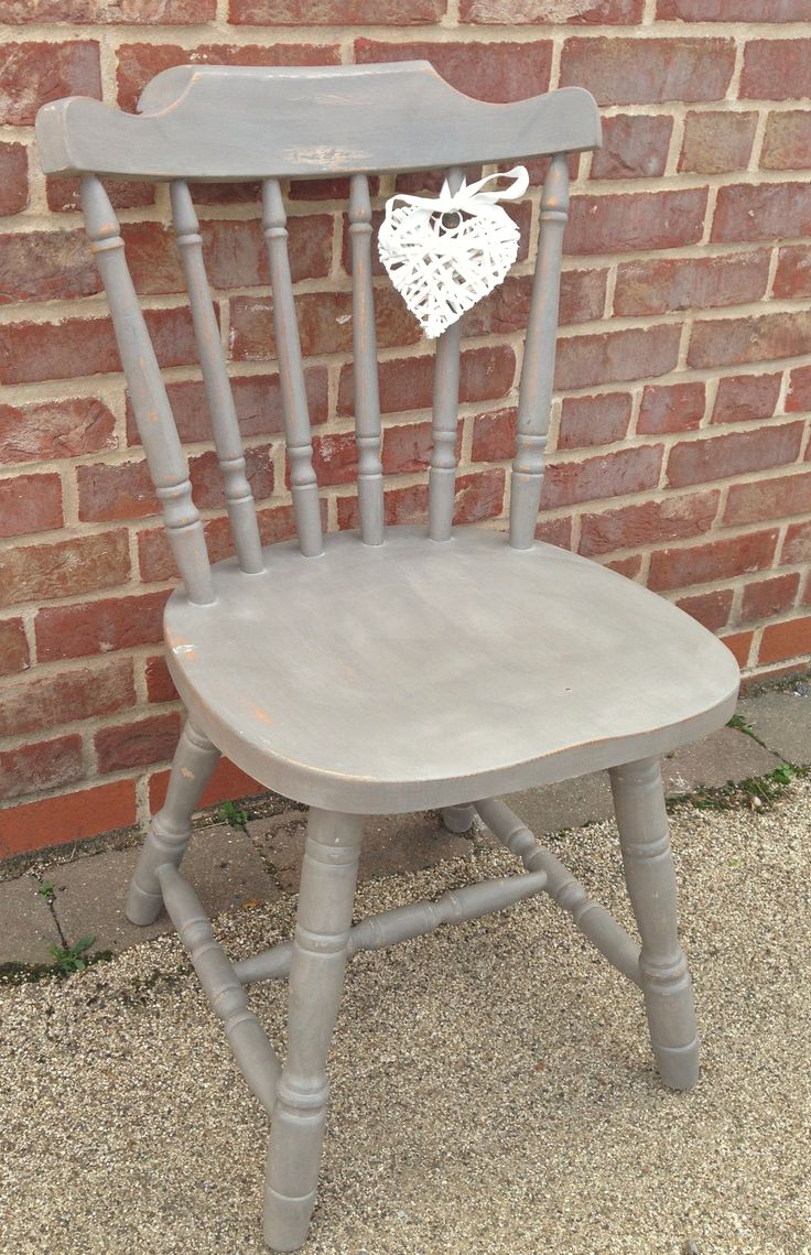 Very Sweet shabby chic chunky solid pine chair painted in Annie Sloan French Linen with some distressing and clear wax added all over for protection xx