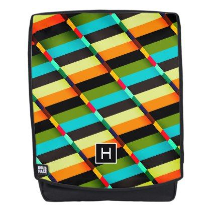 Colorful Modern Abstract Stripes & Monogram Backpack - monogram gifts unique custom diy personalize
