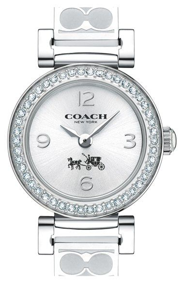 COACH 'Madison Fashion' Crystal Bezel Logo Etched Bangle Watch, 24mm (Regular Retail Price: $275.00) available at #Nordstrom