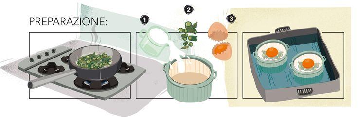 cocotte di uova e asparagi - preparazione