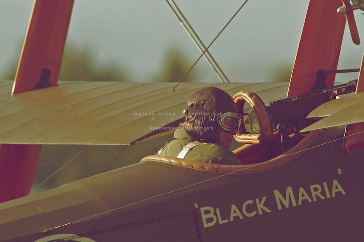 A pilot of The Vintage Aviator's Sopwith Triplane replica awaits take-off. ©2012 Marcus Schoo