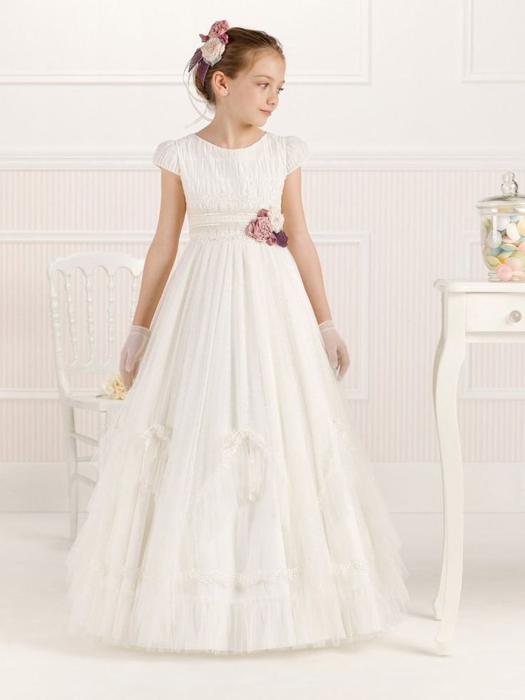 Vintage Jewel Neck Short Sleeve A-Line Lace Trims Long Tulle Communion Dress With Flowers