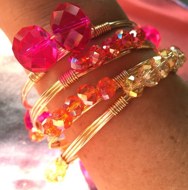 Sunset Sparkle Wire Wrapped Bangles, Bauble Bangles, Personalized Gifts, Crystal Bracelet, Bourbon and Bowties Inspired by KealohiCreations on Etsy https://www.etsy.com/listing/242766388/sunset-sparkle-wire-wrapped-bangles