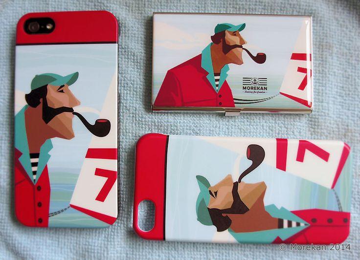 Новые образцы - чехлы для телефонов и визитница. Выглядят уже весьма хорошо. Ещё добавим фирменных надписей и логотип. © Morekan 2014