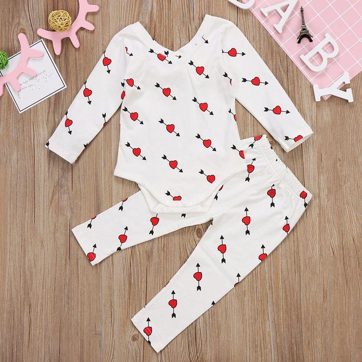 2PCS Baby Girls Cotton Clothing Set Infant Newborn Bow Long Sleeve Bodysuit Pants 2017 Outfits Baby. Click visit to buy #BabyGirlClothingSet #BabyGirl #ClothingSet