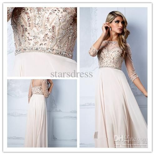 Wholesale Prom Dresses - Buy Nude Formal Dress With 3/4 Long Sheath/Column Bateau Floor-length Backless Prom Dresses With Sequins And Beads starsdress 151, $128.99 | DHgate