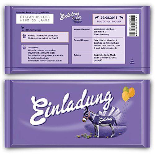 Einladungen zum Geburtstag (50 Stück) lila Schokolade Schoko Esel Einladungskarten kartenmachen.de http://www.amazon.de/dp/B00ZPN1W8Q/ref=cm_sw_r_pi_dp_ROVAwb16KHSRP