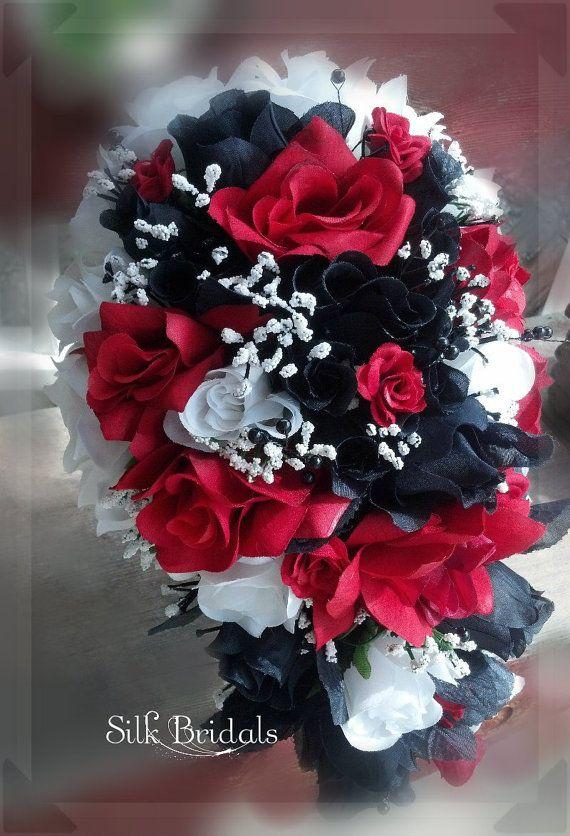 Red Black White Bridal Bouquet Silk Roses Wedding Flowers Bride Bridesmaid Cascade