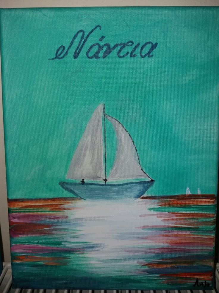 Acrylic paint with boat