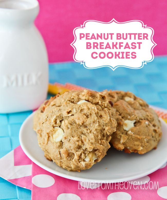 Peanut Butter, Banana & White Chocolate Breakfast Cookies.   Whole grains and only 1/4 the butter you find in most cookie recipes!