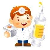 enfermera caricatura : Pequeño doctor Kid es la celebración de una jeringa grande Ilustración