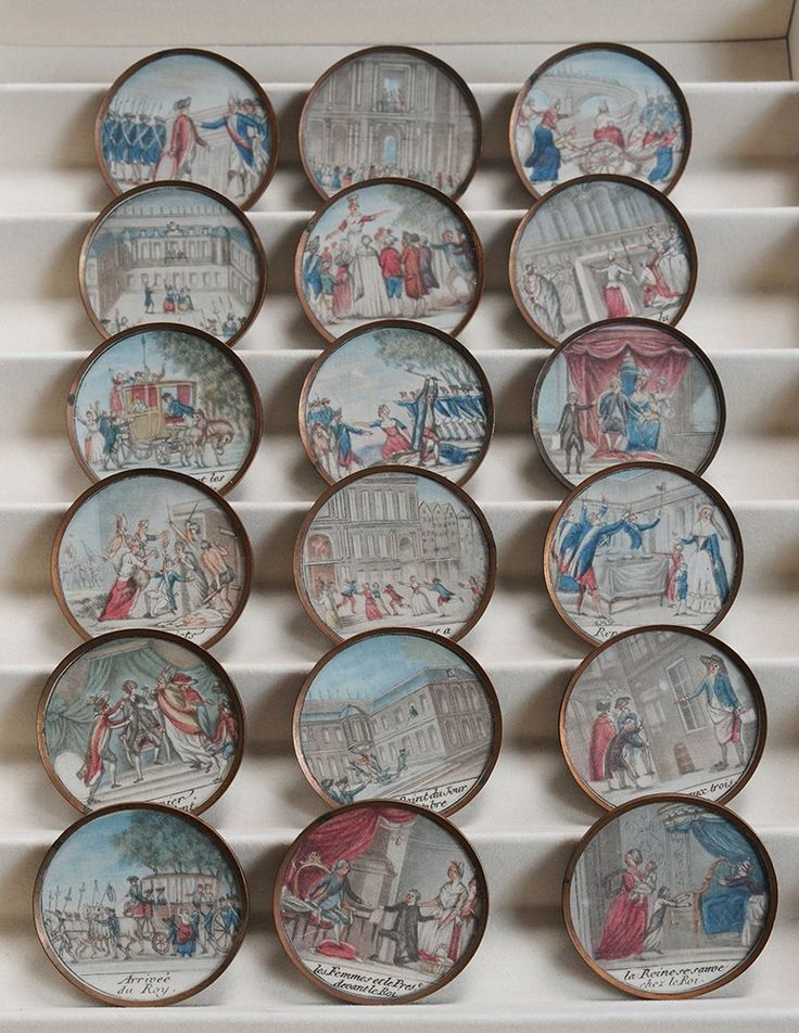 Rare collection of French Revolution commemorative buttons, circa 1790, Paris, each with engraved title of event depicted at bottom, hand-colored stipple engravings on bezel set in copper buttons, 1-1/2 in. diameter. These buttons were created to both celebrate and support the events of the French Revolution.