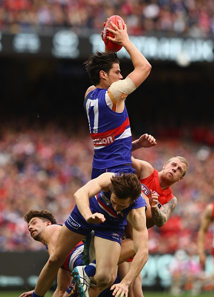 Tom Boyd of the Bulldogs marks during the 2016 Toyota AFL Grand Final match between the Sydney Swans and the Western Bulldogs at the Melbourne...