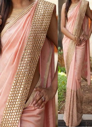 Peach Mirror Work Thread Work Georgette Banarasi Party Wear Half Sarees http://www.angelnx.com/