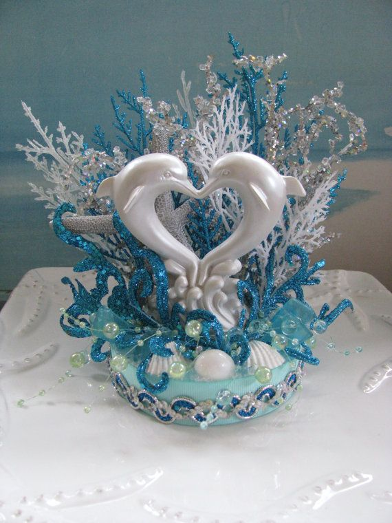 Dolphin Beach Wedding Cake TopperSeashell Topper
