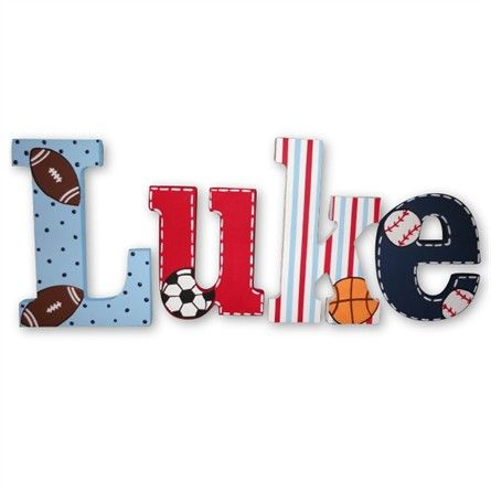 The Andrew Playground Hand Painted Wall Letters will be a winning combination for your little athlete.  Features baseball, basketball, football, and soccer motifs on a customizable set of hanging letters